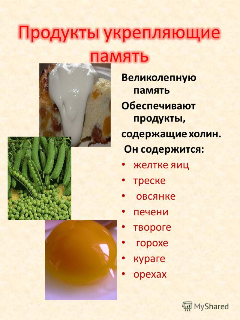 Великолепную память Обеспечивают продукты, содержащие холин. Он содержится: желтке яиц треске овсянке печени твороге горохе кураге орехах