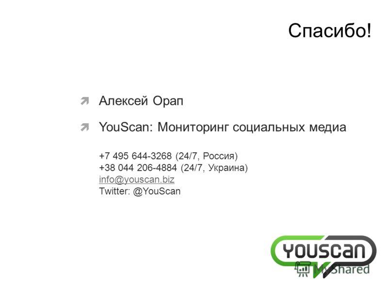 Алексей Орап YouScan: Мониторинг социальных медиа +7 495 644-3268 (24/7, Россия) +38 044 206-4884 (24/7, Украина) info@youscan.biz Twitter: @YouScan info@youscan.biz Cпасибо!
