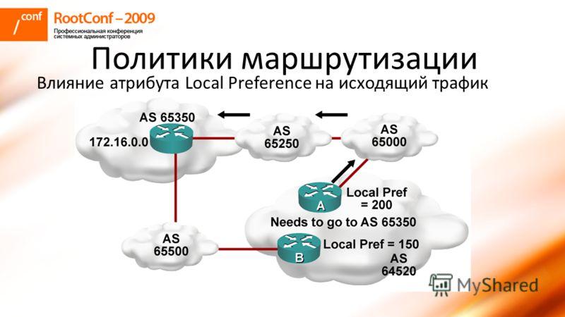Политики маршрутизации Влияние атрибута Local Preference на исходящий трафик
