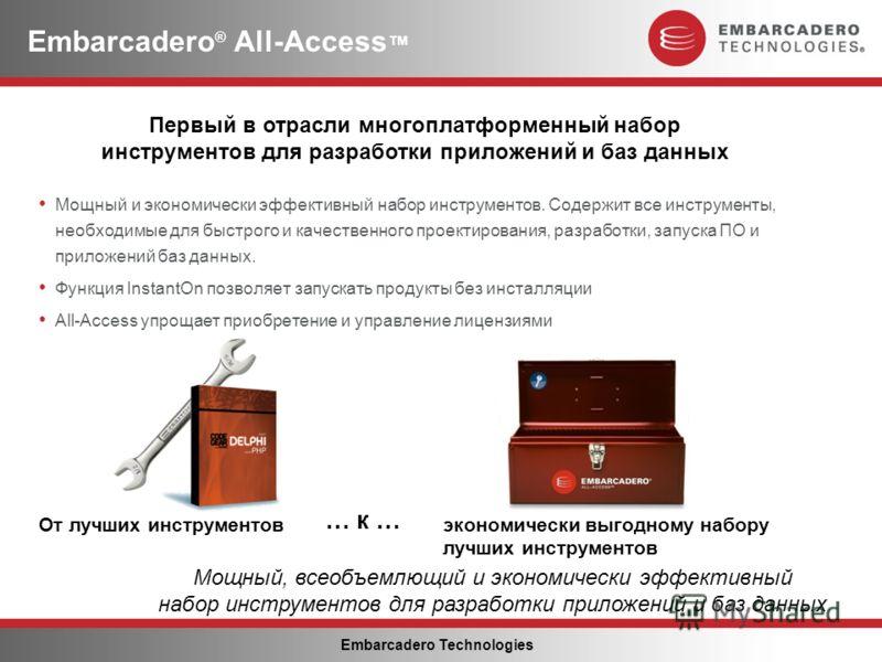 Embarcadero Technologies Мощный и экономически эффективный набор инструментов. Содержит все инструменты, необходимые для быстрого и качественного проектирования, разработки, запуска ПО и приложений баз данных. Функция InstantOn позволяет запускать пр