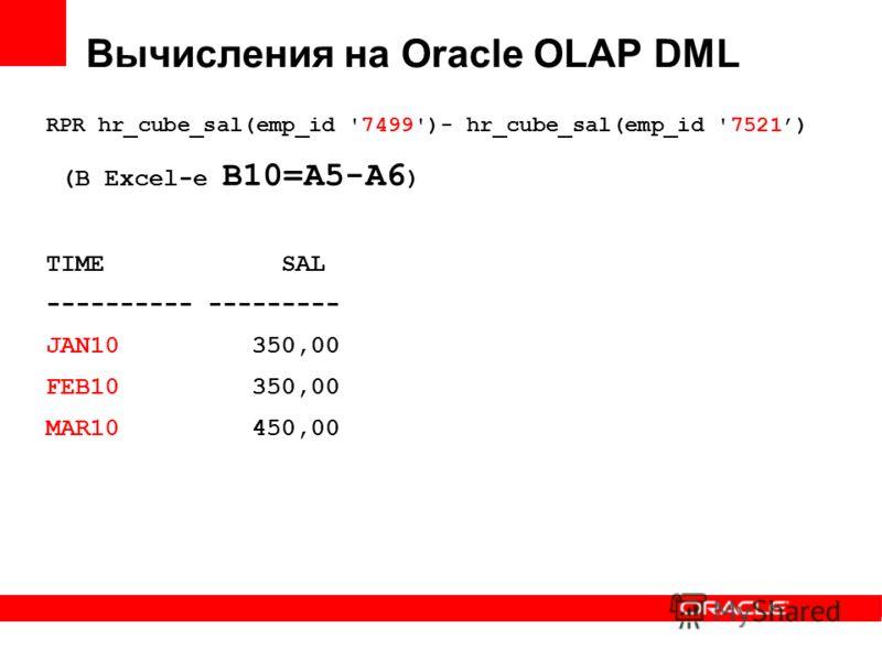 Вычисления на Oracle OLAP DML RPR hr_cube_sal(emp_id '7499')- hr_cube_sal(emp_id '7521) (В Excel-е B10=A5-A6 ) TIME SAL ---------- --------- JAN10 350,00 FEB10 350,00 MAR10 450,00