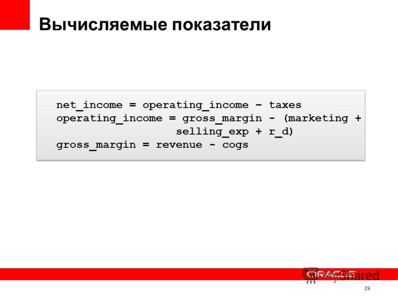 Вычисляемые показатели 29 net_income = operating_income – taxes operating_income = gross_margin - (marketing + selling_exp + r_d) gross_margin = revenue - cogs net_income = operating_income – taxes operating_income = gross_margin - (marketing + selli