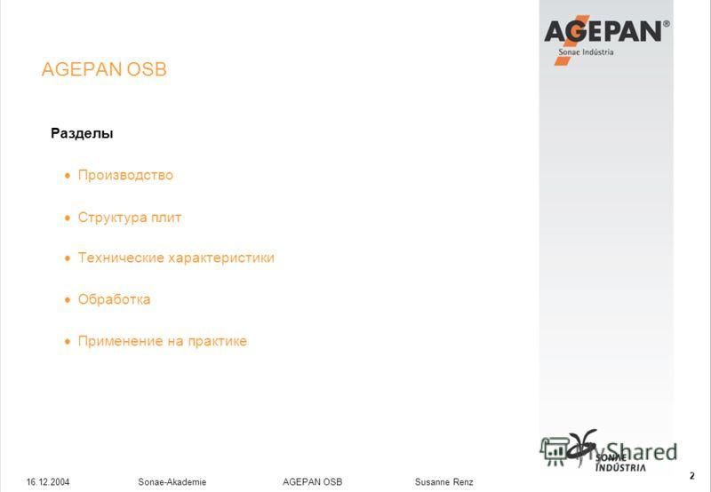 16.12.2004Sonae-Akademie AGEPAN OSB Susanne Renz 2 AGEPAN OSB Разделы Производство Структура плит Технические характеристики Обработка Применение на практике