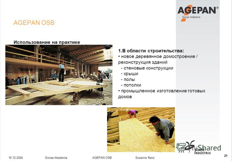 16.12.2004Sonae-Akademie AGEPAN OSB Susanne Renz 29 AGEPAN OSB Использование на практике 1.В области строительства: новое деревянное домостроение / реконструкция зданий - стеновые конструкции - крыши - полы - потолки промышленное изготовление готовых