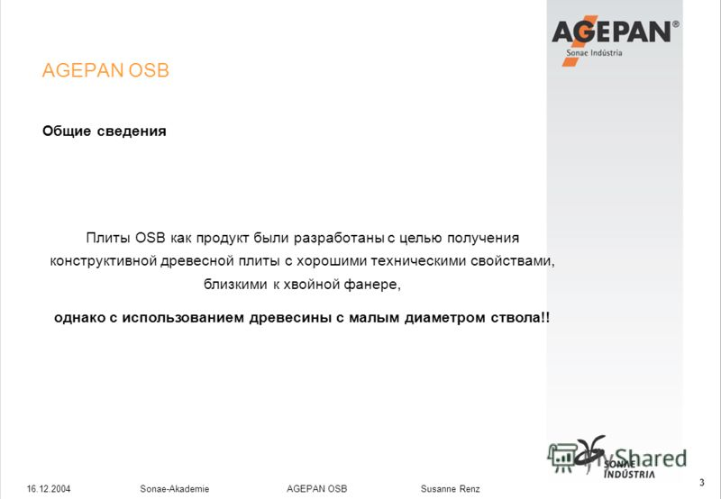 16.12.2004Sonae-Akademie AGEPAN OSB Susanne Renz 3 AGEPAN OSB Общие сведения Плиты OSB как продукт были разработаны с целью получения конструктивной древесной плиты с хорошими техническими свойствами, близкими к хвойной фанере, однако с использование