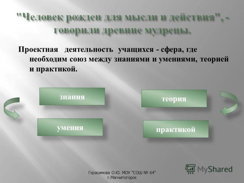 Герасимова О. Ю. МОУ  СОШ 64 г. Магнитогорск Проектная деятельность учащихся - сфера, где необходим союз между знаниями и умениями, теорией и практикой. знания умения практикой теория