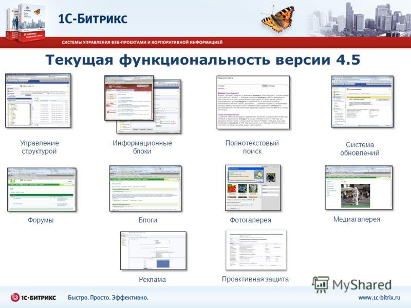Текущая функциональность версии 4.5 Управление структурой Информационные блоки Фотогалерея Полнотекстовый поиск Система обновлений БлогиФорумы Медиагалерея Реклама Проактивная защита
