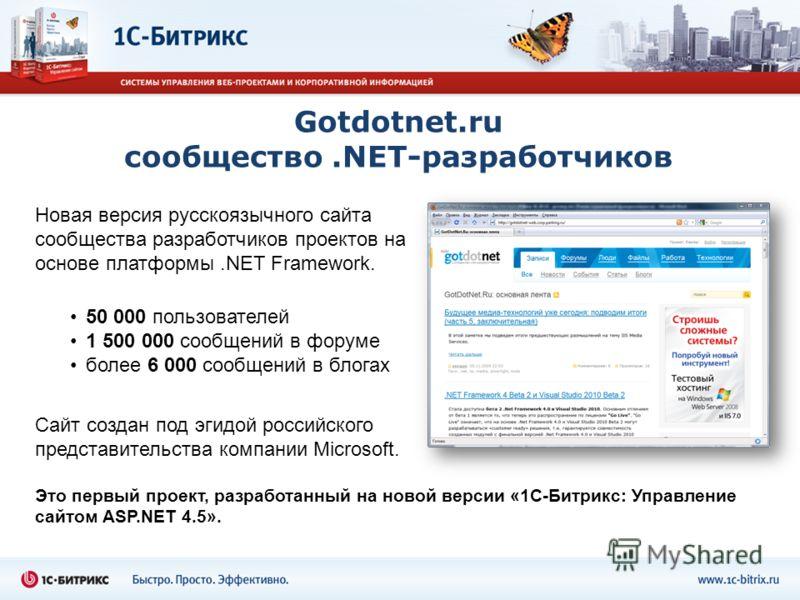 Gotdotnet.ru сообщество.NET-разработчиков Это первый проект, разработанный на новой версии «1С-Битрикс: Управление сайтом ASP.NET 4.5». Новая версия русскоязычного сайта сообщества разработчиков проектов на основе платформы.NET Framework. Сайт создан