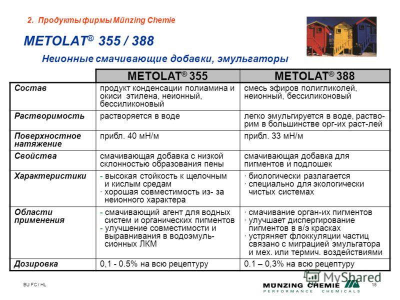 BU FC / HL16 METOLAT ® 355 / 388 Неионные смачивающие добавки, эмульгаторы METOLAT ® 355METOLAT ® 388 Составпродукт конденсации полиамина и окиси этилена, неионный, бессиликоновый смесь эфиров полигликолей, неионный, бессиликоновый Растворимостьраств