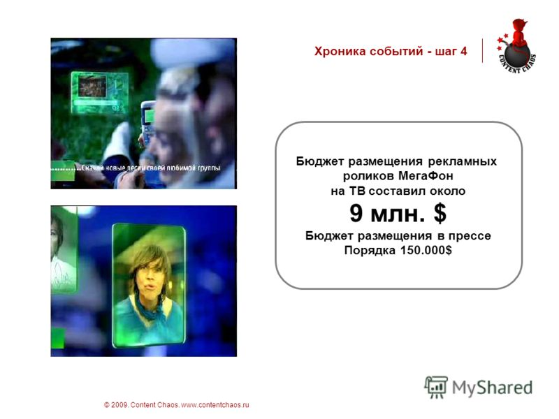 стр 10 © 2009. Content Chaos. www.contentchaos.ru Хроника событий - шаг 4 Бюджет размещения рекламных роликов МегаФон на ТВ составил около 9 млн. $ Бюджет размещения в прессе Порядка 150.000$