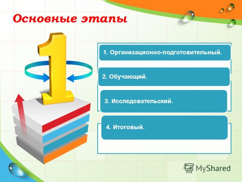 Основные этапы 1. Организационно-подготовительный. 2. Обучающий. 3. Исследовательский. 4. Итоговый.