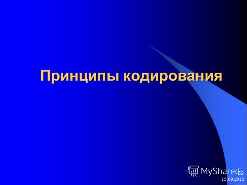 15.09.2012 52 Принципы кодирования Принципы кодирования