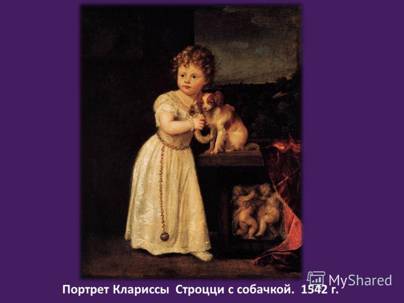 Портрет Клариссы Строцци с собачкой. 1542 г.