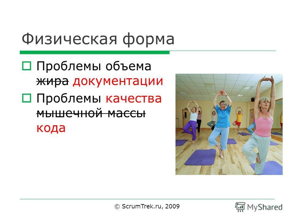 Физическая форма Проблемы объема жира документации Проблемы качества мышечной массы кода © ScrumTrek.ru, 2009
