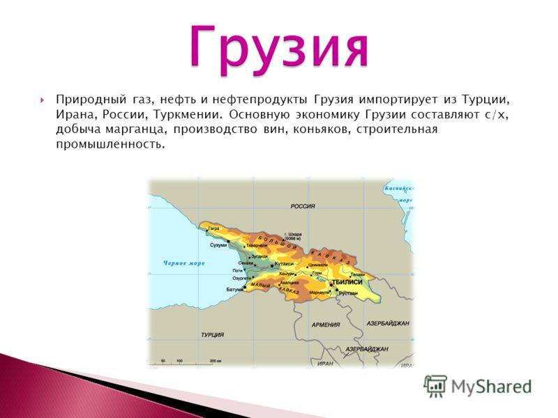 Природный газ, нефть и нефтепродукты Грузия импортирует из Турции, Ирана, России, Туркмении. Основную экономику Грузии составляют с/х, добыча марганца, производство вин, коньяков, строительная промышленность.