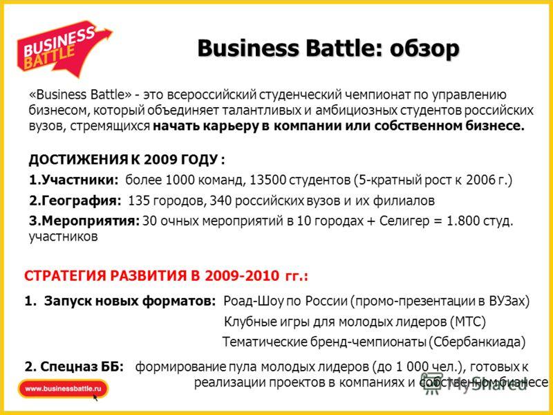 Business Battle: обзор «Business Battle» - это всероссийский студенческий чемпионат по управлению бизнесом, который объединяет талантливых и амбициозных студентов российских вузов, стремящихся начать карьеру в компании или собственном бизнесе. ДОСТИЖ