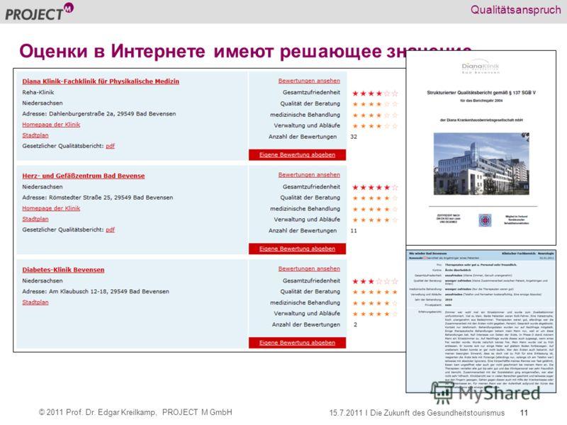 11 © 2011 Prof. Dr. Edgar Kreilkamp, PROJECT M GmbH 15.7.2011 I Die Zukunft des Gesundheitstourismus Qualitätsanspruch Оценки в Интернете имеют решающее значение
