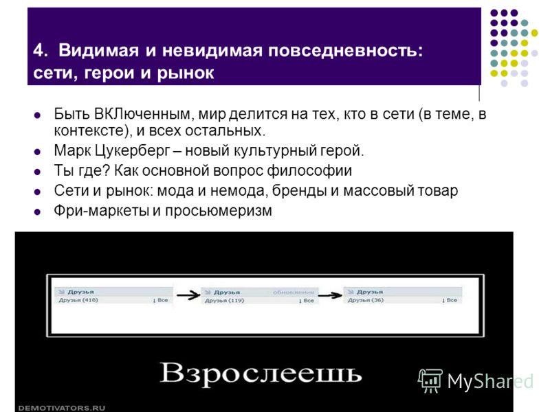 Центр молодежных исследований ГУ-ВШЭ в Санкт-Петербурге 4. Видимая и невидимая повседневность: сети, герои и рынок Быть ВКЛюченным, мир делится на тех, кто в сети (в теме, в контексте), и всех остальных. Марк Цукерберг – новый культурный герой. Ты гд