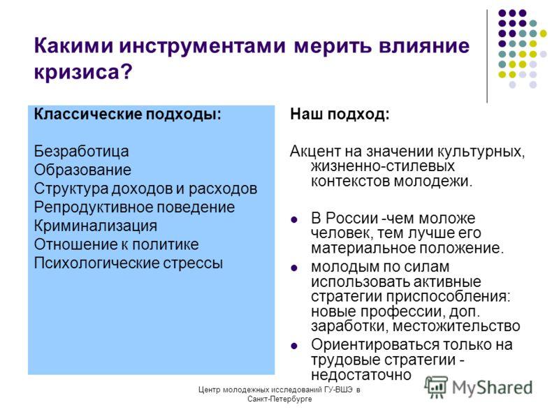 Центр молодежных исследований ГУ-ВШЭ в Санкт-Петербурге Какими инструментами мерить влияние кризиса? Классические подходы: Безработица Образование Структура доходов и расходов Репродуктивное поведение Криминализация Отношение к политике Психологическ