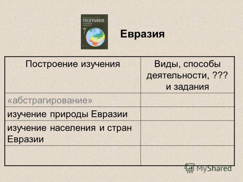 Евразия Построение изученияВиды, способы деятельности, ??? и задания «абстрагирование» изучение природы Евразии изучение населения и стран Евразии