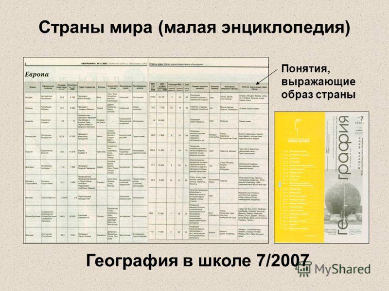 Страны мира (малая энциклопедия) Понятия, выражающие образ страны География в школе 7/2007