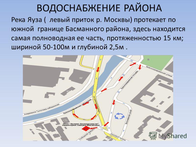 ВОДОСНАБЖЕНИЕ РАЙОНА Река Яуза ( левый приток р. Москвы) протекает по южной границе Басманного района, здесь находится самая полноводная ее часть, протяженностью 15 км; шириной 50-100м и глубиной 2,5м.