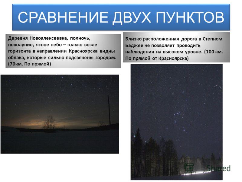 СРАВНЕНИЕ ДВУХ ПУНКТОВ Деревня Новоалексеевка, полночь, новолуние, ясное небо – только возле горизонта в направлении Красноярска видны облака, которые сильно подсвечены городом. (70км. По прямой) Близко расположенная дорога в Степном Баджее не позвол