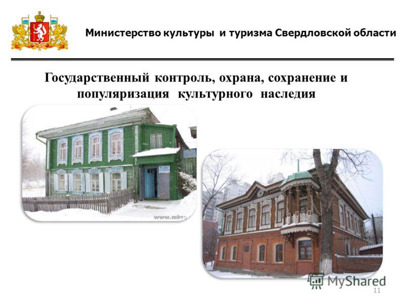 Министерство культуры и туризма Свердловской области Государственный контроль, охрана, сохранение и популяризация культурного наследия 11