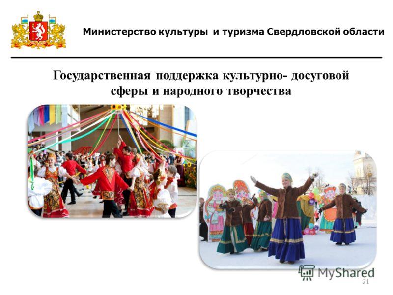 Министерство культуры и туризма Свердловской области Государственная поддержка культурно- досуговой сферы и народного творчества 21