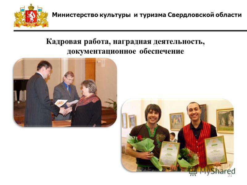 Министерство культуры и туризма Свердловской области Кадровая работа, наградная деятельность, документационное обеспечение 31