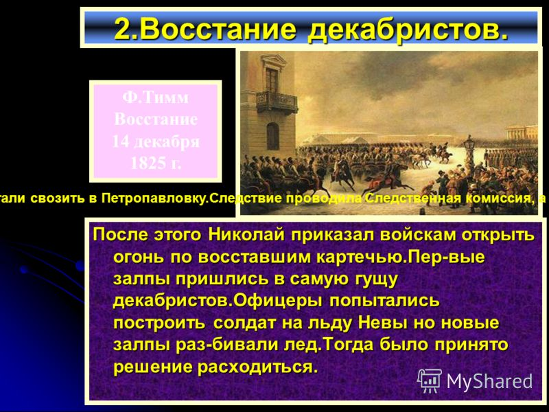 После этого Николай приказал войскам открыть огонь по восставшим картечью.Пер-вые залпы пришлись в самую гущу декабристов.Офицеры попытались построить солдат на льду Невы но новые залпы раз-бивали лед.Тогда было принято решение расходиться. 2.Восстан