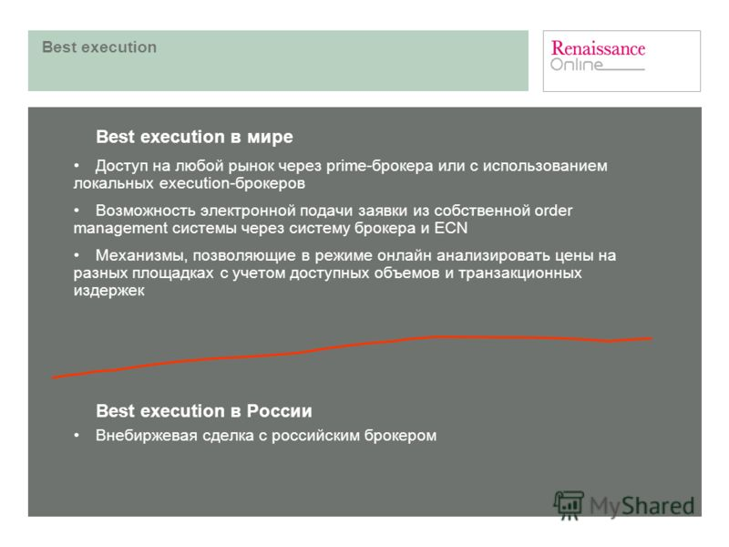 Best execution Best execution в мире Доступ на любой рынок через prime-брокера или с использованием локальных execution-брокеров Возможность электронной подачи заявки из собственной order management системы через систему брокера и ECN Механизмы, позв