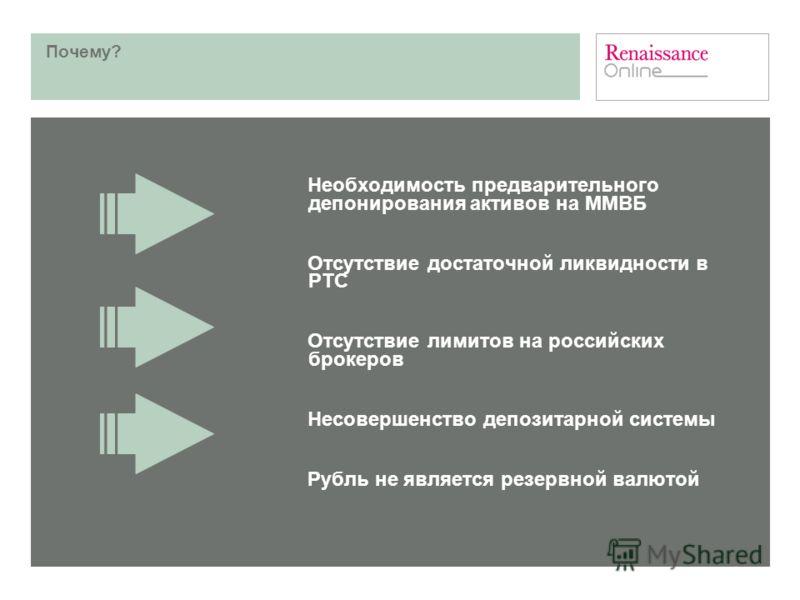 Почему? Необходимость предварительного депонирования активов на ММВБ Отсутствие достаточной ликвидности в РТС Отсутствие лимитов на российских брокеров Несовершенство депозитарной системы Рубль не является резервной валютой