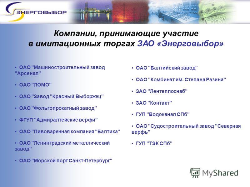 Компании, принимающие участие в имитационных торгах ЗАО «Энерговыбор» ОАО