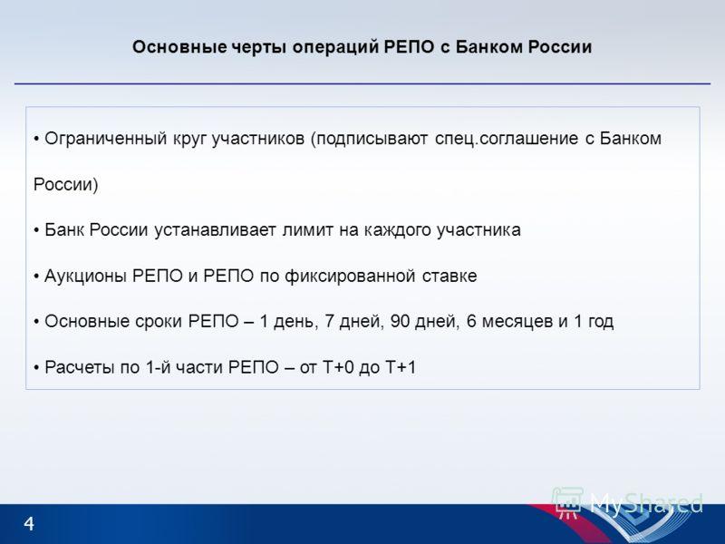 4 Основные черты операций РЕПО с Банком России Ограниченный круг участников (подписывают спец.соглашение с Банком России) Банк России устанавливает лимит на каждого участника Аукционы РЕПО и РЕПО по фиксированной ставке Основные сроки РЕПО – 1 день,