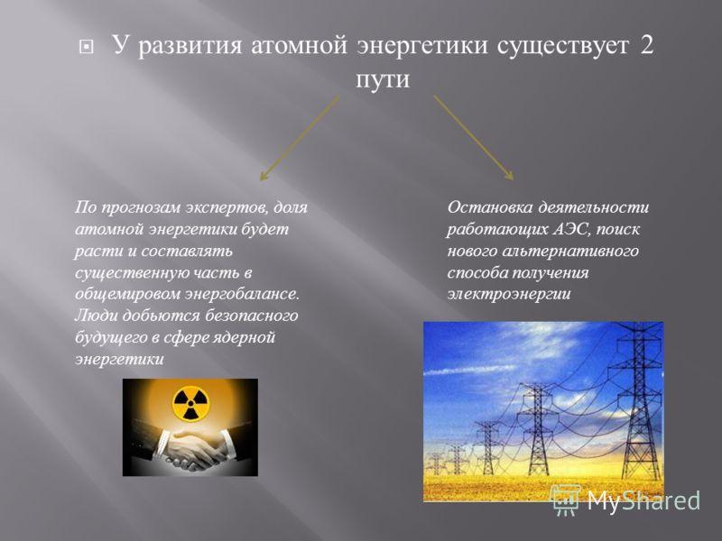 У р азвития а томной э нергетики с уществует 2 пути По прогнозам экспертов, доля атомной энергетики будет расти и составлять существенную часть в общемировом энергобалансе. Люди добьются безопасного будущего в сфере ядерной энергетики Остановка деяте