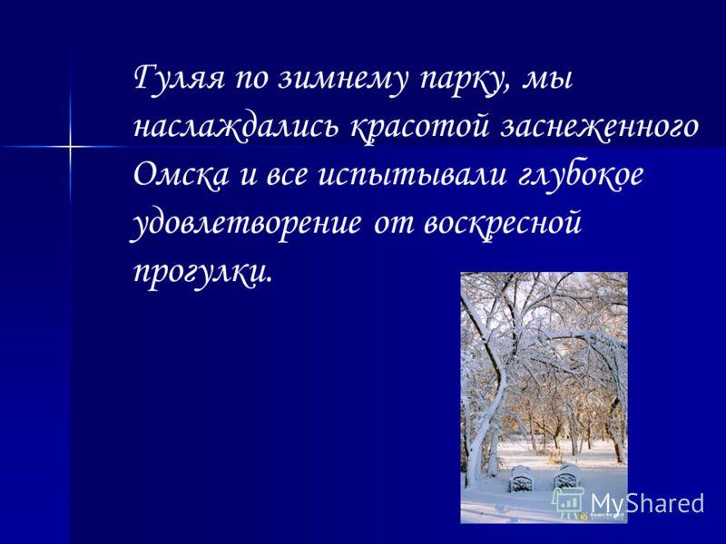 Гуляя по зимнему парку, мы наслаждались красотой заснеженного Омска и все испытывали глубокое удовлетворение от воскресной прогулки.