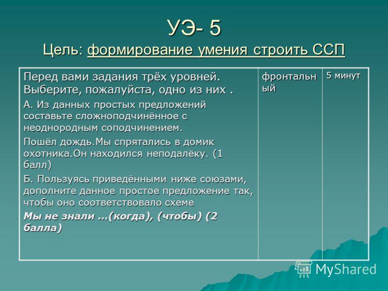 УЭ- 5 Цель: формирование умения строить ССП Перед вами задания трёх уровней. Выберите, пожалуйста, одно из них. А. Из данных простых предложений составьте сложноподчинённое с неоднородным соподчинением. Пошёл дождь.Мы спрятались в домик охотника.Он н