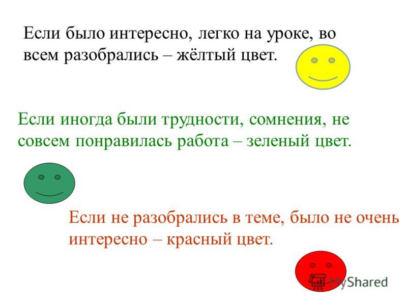 Если было интересно, легко на уроке, во всем разобрались – жёлтый цвет. Если иногда были трудности, сомнения, не совсем понравилась работа – зеленый цвет. Если не разобрались в теме, было не очень интересно – красный цвет.