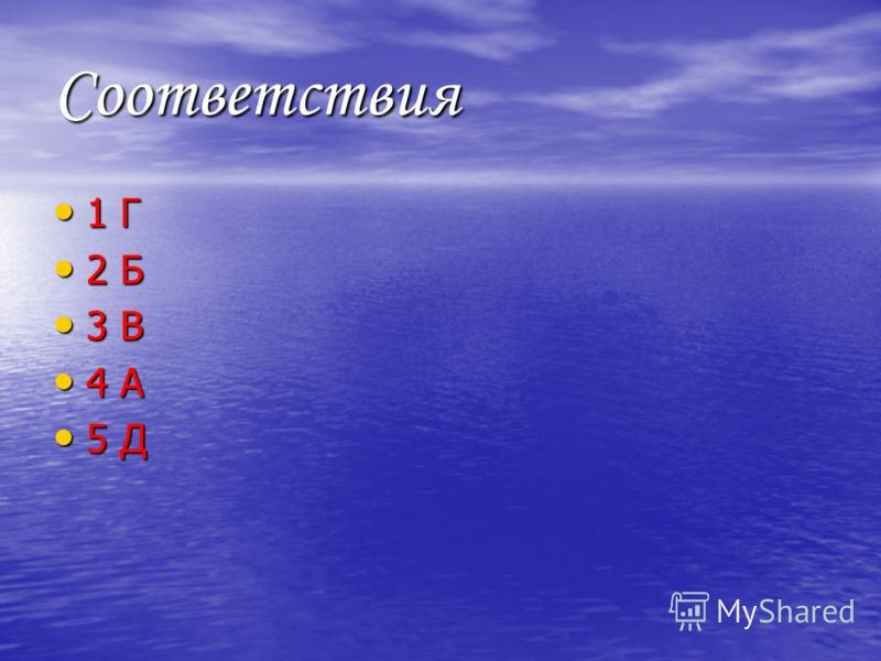 Соответствия 1 Г 1 Г 2 Б 2 Б 3 В 3 В 4 А 4 А 5 Д 5 Д