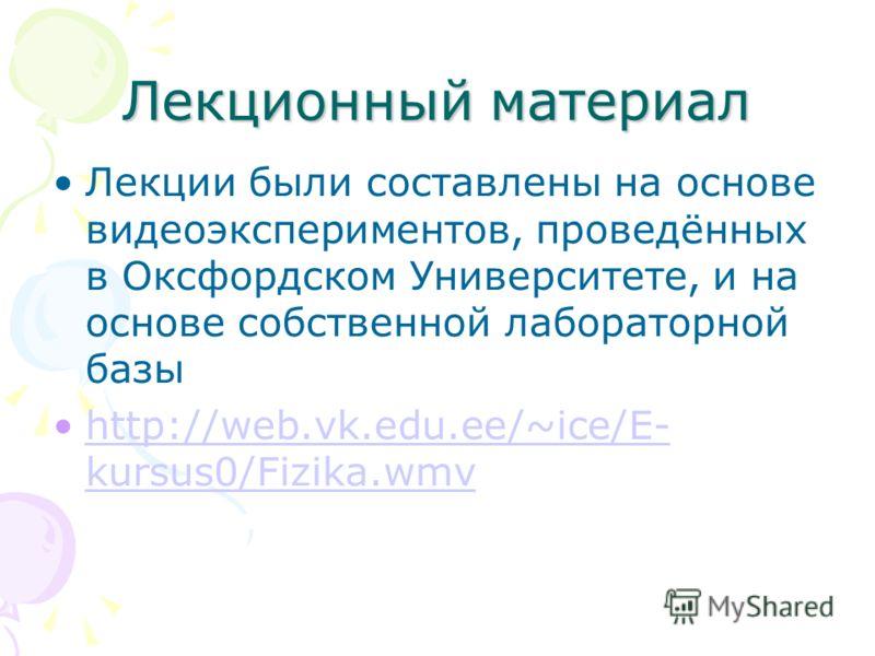 Лекционный материал Лекции были составлены на основе видеоэкспериментов, проведённых в Оксфордском Университете, и на основе собственной лабораторной базы http://web.vk.edu.ee/~ice/E- kursus0/Fizika.wmvhttp://web.vk.edu.ee/~ice/E- kursus0/Fizika.wmv