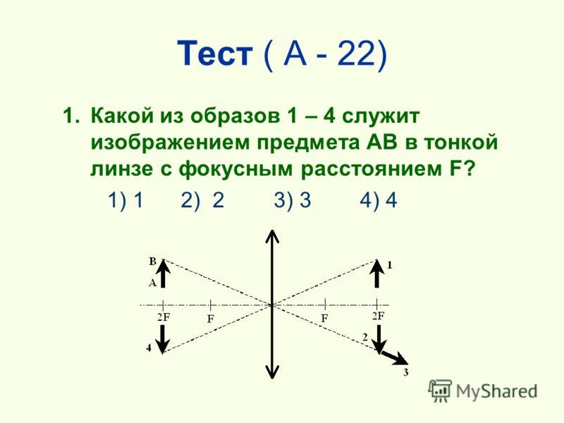 Тест ( А - 22) 1.Какой из образов 1 – 4 служит изображением предмета AB в тонкой линзе с фокусным расстоянием F? 1) 1 2) 2 3) 3 4) 4