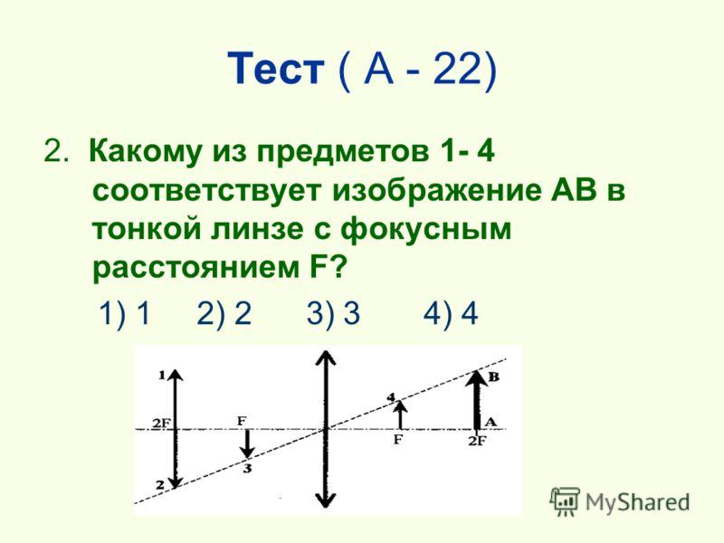Тест ( А - 22) 2. Какому из предметов 1- 4 соответствует изображение АВ в тонкой линзе с фокусным расстоянием F? 1) 1 2) 2 3) 3 4) 4