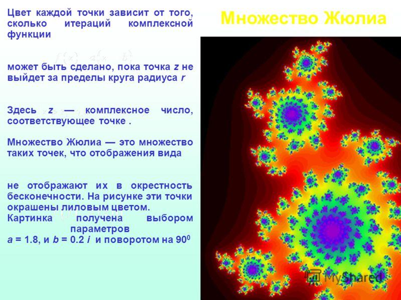 Множество Жюлиа Цвет каждой точки зависит от того, сколько итераций комплексной функции может быть сделано, пока точка z не выйдет за пределы круга радиуса r Здесь z комплексное число, соответствующее точке. Множество Жюлиа это множество таких точек,