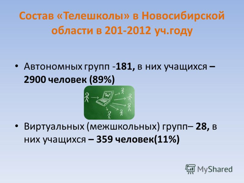 Состав «Телешколы» в Новосибирской области в 201-2012 уч.году Автономных групп -181, в них учащихся – 2900 человек (89%) Виртуальных (межшкольных) групп– 28, в них учащихся – 359 человек(11%)