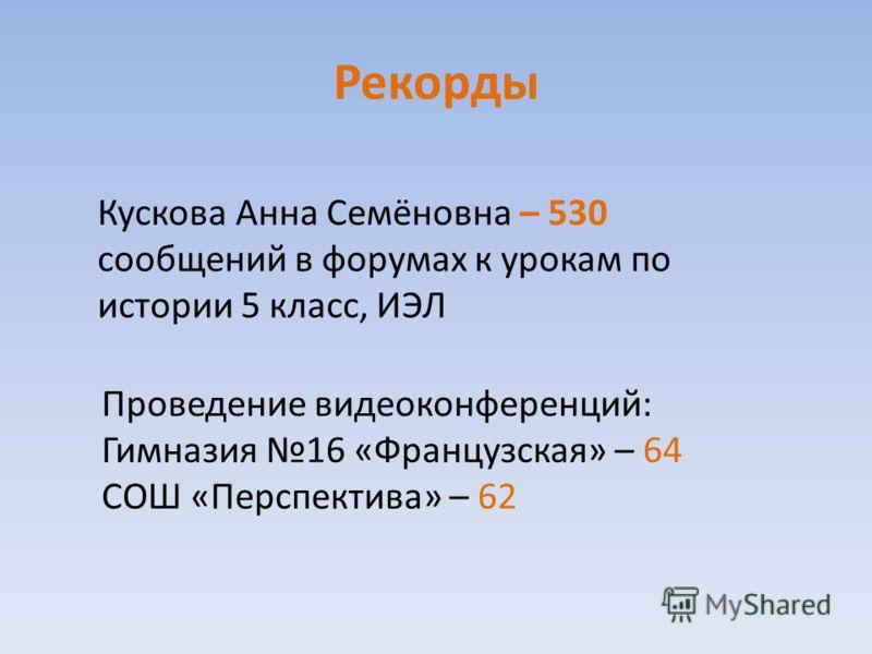 Рекорды Кускова Анна Семёновна – 530 сообщений в форумах к урокам по истории 5 класс, ИЭЛ Проведение видеоконференций: Гимназия 16 «Французская» – 64 СОШ «Перспектива» – 62