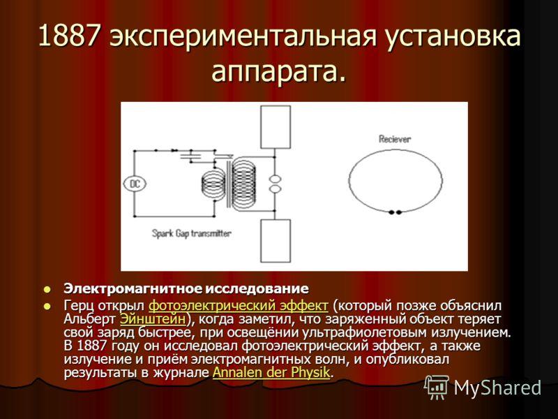 1887 экспериментальная установка аппарата. Электромагнитное исследование Электромагнитное исследование Герц открыл фотоэлектрический эффект (который позже объяснил Альберт Эйнштейн), когда заметил, что заряженный объект теряет свой заряд быстрее, при