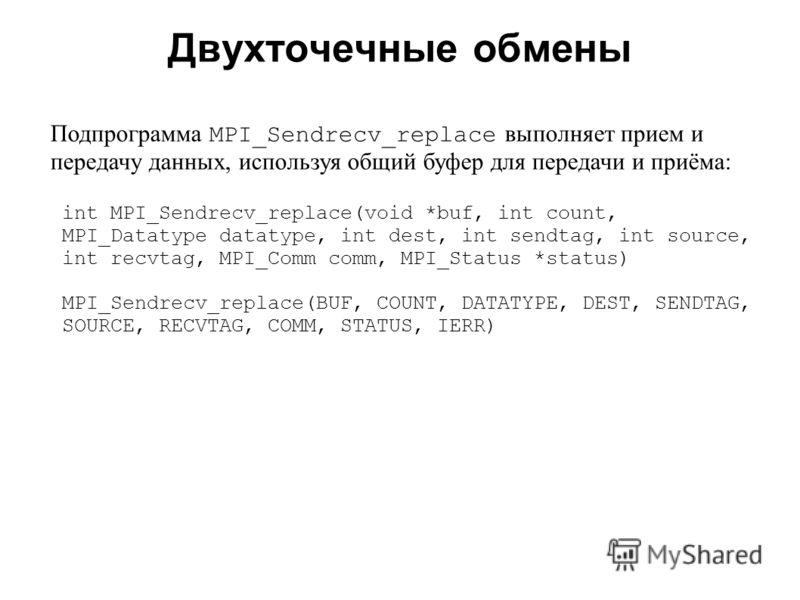 Двухточечные обмены 2008 Подпрограмма MPI_Sendrecv_replace выполняет прием и передачу данных, используя общий буфер для передачи и приёма: int MPI_Sendrecv_replace(void *buf, int count, MPI_Datatype datatype, int dest, int sendtag, int source, int re
