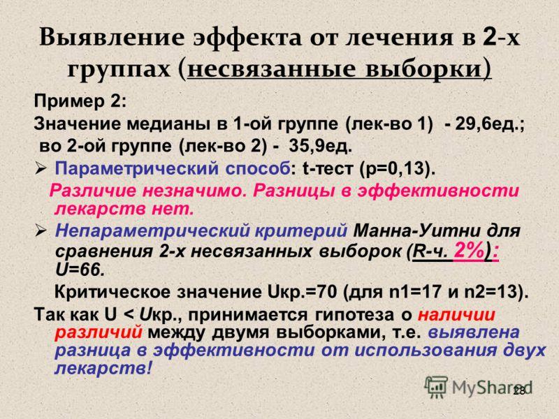 28 Выявление эффекта от лечения в 2 -х группах (несвязанные выборки) Пример 2: Значение медианы в 1-ой группе (лек-во 1) - 29,6ед.; во 2-ой группе (лек-во 2) - 35,9ед. Параметрический способ: t-тест (p=0,13). Различие незначимо. Разницы в эффективнос