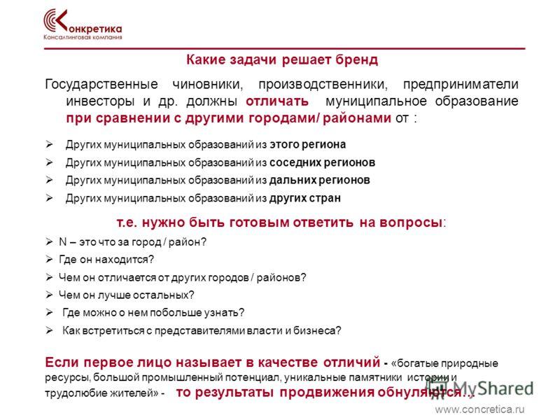 Какие задачи решает бренд www.concretica.ru Государственные чиновники, производственники, предприниматели инвесторы и др. должны отличать муниципальное образование при сравнении с другими городами/ районами от : Других муниципальных образований из эт